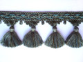Raj 90mm Tassel Fringe, Colour Mixed Sages