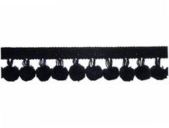 Closeknit 25mm Pom Pom Fringe, Colour 1 Black [SOLD OUT]