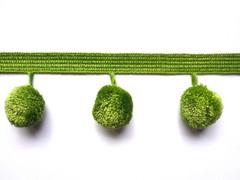 30mm Ball Pom Pom Fringe, Colour 1 Green [ONLY 6 METRES LEFT]