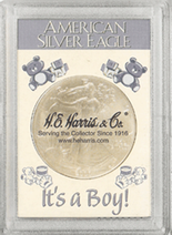 "Frosted 2"" x 3"" Case for Americal Silver Eagle Dollars: It's A Boy"