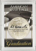 "Frosted 2"" x 3"" Case for Americal Silver Eagle Dollars: Graduation"
