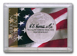 "Frosted 2"" x 3"" Case for American Silver Eagle Dollars: American Flag (1 Hole)"