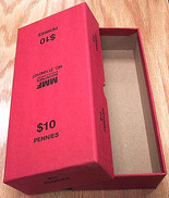 Box for rolled Cents/Pennies -Red
