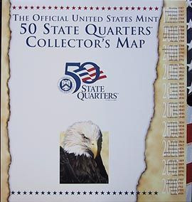 US Mint State Quarters Collectors Map CoinSupplyPlanetcom - Us map for collecting quarters