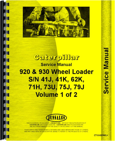 caterpillar 920 930 wheel loader service manual