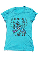 Dang Runner turquoise burnout tee by Dang Chicks