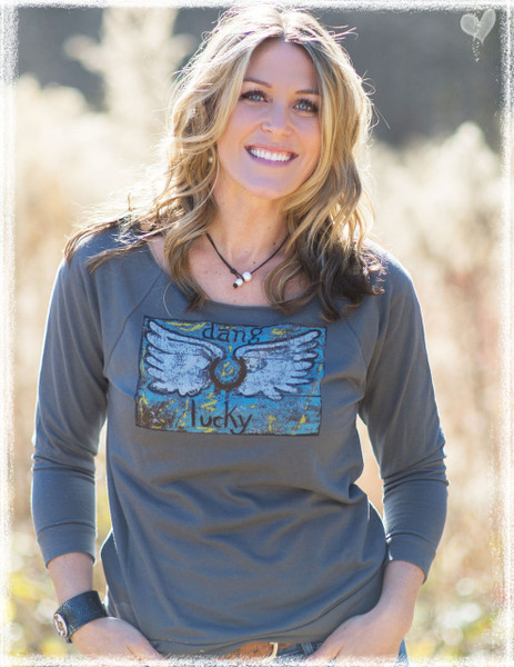 Dang Lucky wings charcoal open edge scoop neck jersey by Dang Chicks