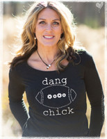 Long sleeve dang chick football tee