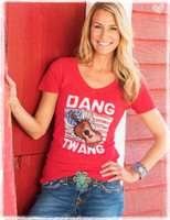 Dang Twang short sleeve red V-Neck slub