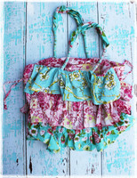 Ruffled Tote-Aqua with Hot Pink Pattern by Dang Chicks