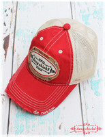 Red trucker hats by Dang Chicks