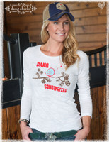 Dang Songwriter White Long Sleeve Slub Tee by Dang Chicks