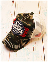 God Bless America camo trucker baseball hat by Dang Chicks