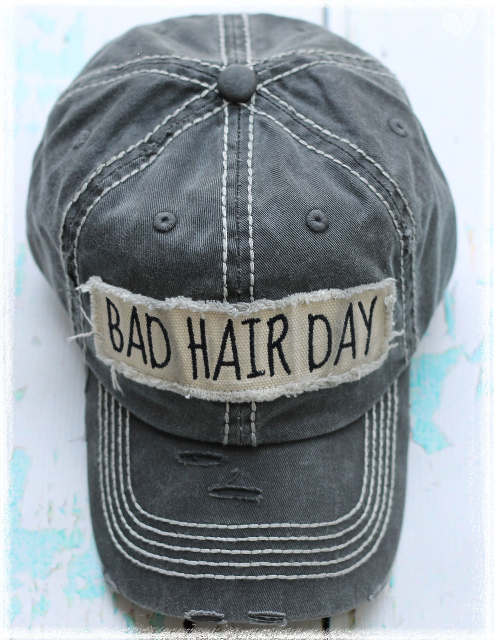 Bad Hair Day patch charcoal baseball cap by Dang Chicks