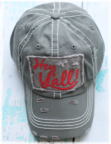 Charcoal Hey Yall letter baseball hat by Dang Chicks