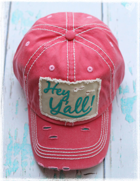 Red Hey Yall letter baseball hat by Dang Chicks