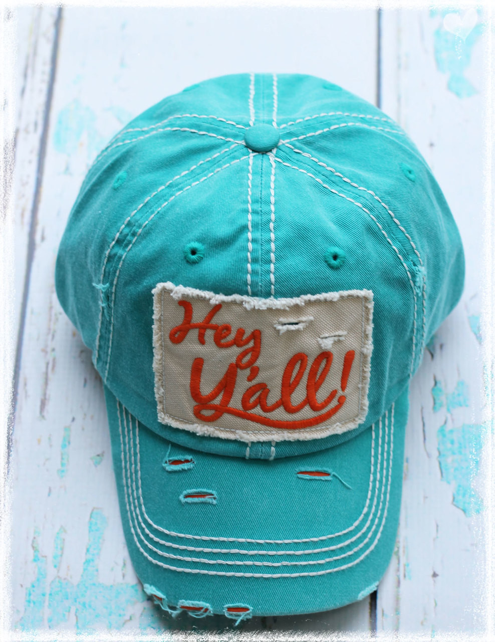 Turquoise Hey Yall letter baseball hat by Dang Chicks