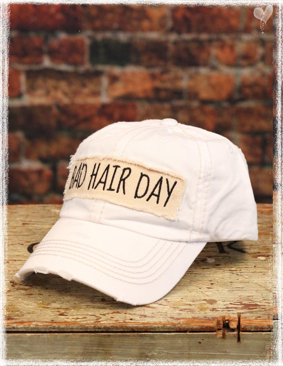 White Bad Hair Day baseball hat by Dang Chicks