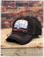 Black Happy Camper baseball hat by Dang Chicks