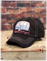Black Happy Camper baseball hat by Dang Chicks