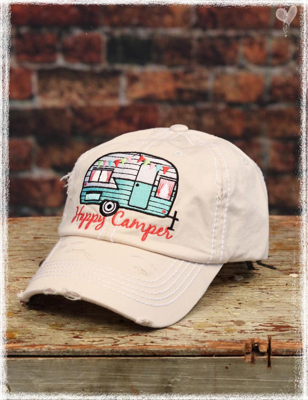 Khaki Happy Camper baseball hat by Dang Chicks