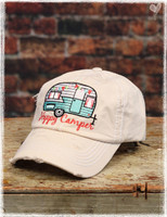 Khaki Happy Camper baseball hat by Dang Chicks