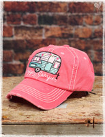 Pink Happy Camper baseball hat by Dang Chicks