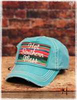 Turquoise Hot Southern Mess Baseball Hat by Dang Chicks
