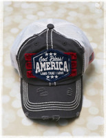 God Bless America khaki trucker baseball hat by Dang Chicks