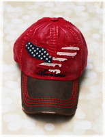 Americana Red Twill Baseball Hat by Dang Chicks