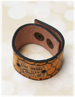 Kind Words Honey Stamped Leather Cuff by Dang Chicks