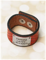 Thankful Happy Blessed Handmade Pewter Leather Cuff by Dang Chicks