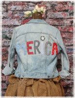 Repurposed Merica Light Blue Denim Jacket by Dang Chicks Artisans