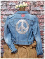 Repurposed Music Light Blue Denim Jacket by Dang Chicks Artisans