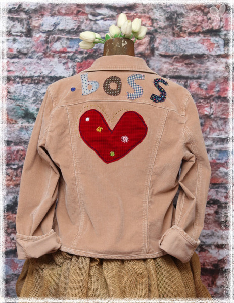 Repurposed BOSS Caramel Denim Jacket by Dang Chicks Artisans