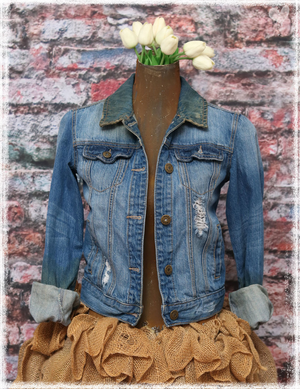 Repurposed Flag Denim Jacket by Dang Chicks Artisans