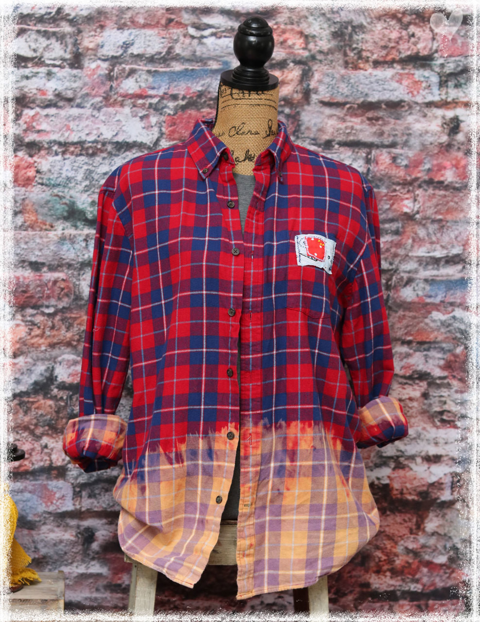 Repurposed Flannel Red Bar by Dang Chicks Artisans