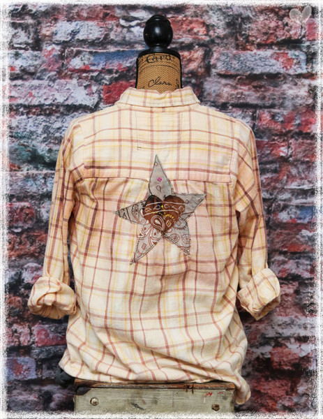 Repurposed Flannel Butternut Star by Dang Chicks Artisans