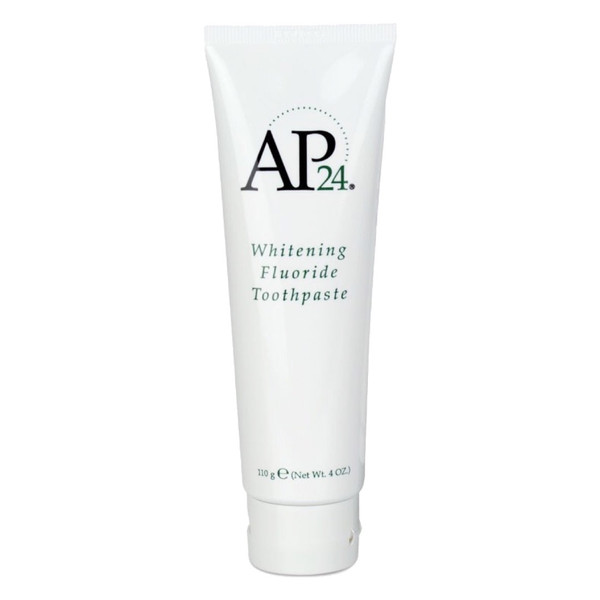 AP 24® Whitening Fluoride Toothpaste lightens teeth without peroxide while preventing cavities and plaque formation. This gentle, vanilla mint formula freshens breath and provides a clean, just-brushed feeling that lasts all day.