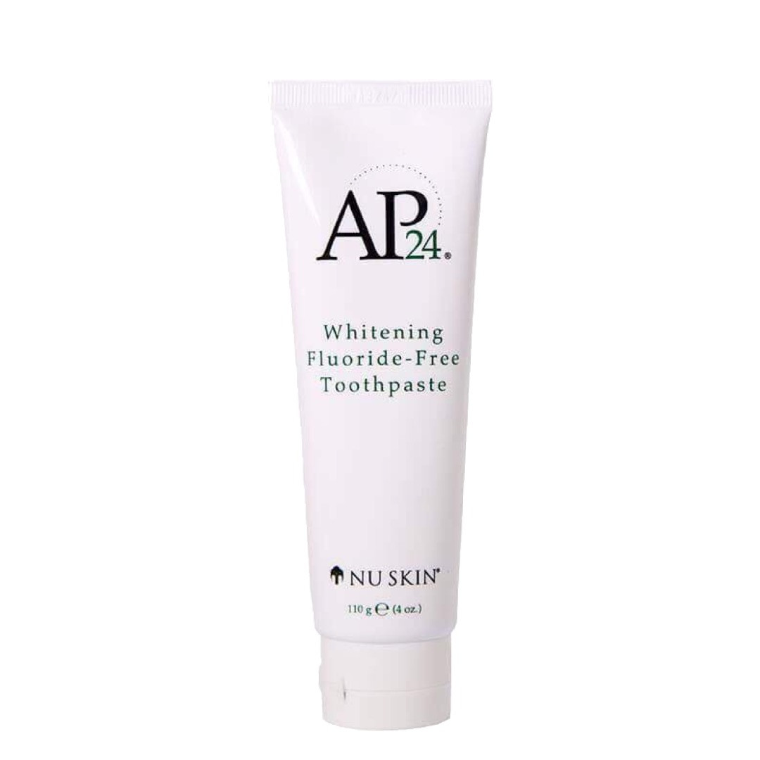 Brightens and whitens teeth. AP 24® Whitening Fluoride-Free Toothpaste lightens teeth without peroxide while preventing plaque formation. This gentle, vanilla mint formula freshens breath and provides a clean, just-brushed feeling that lasts all day