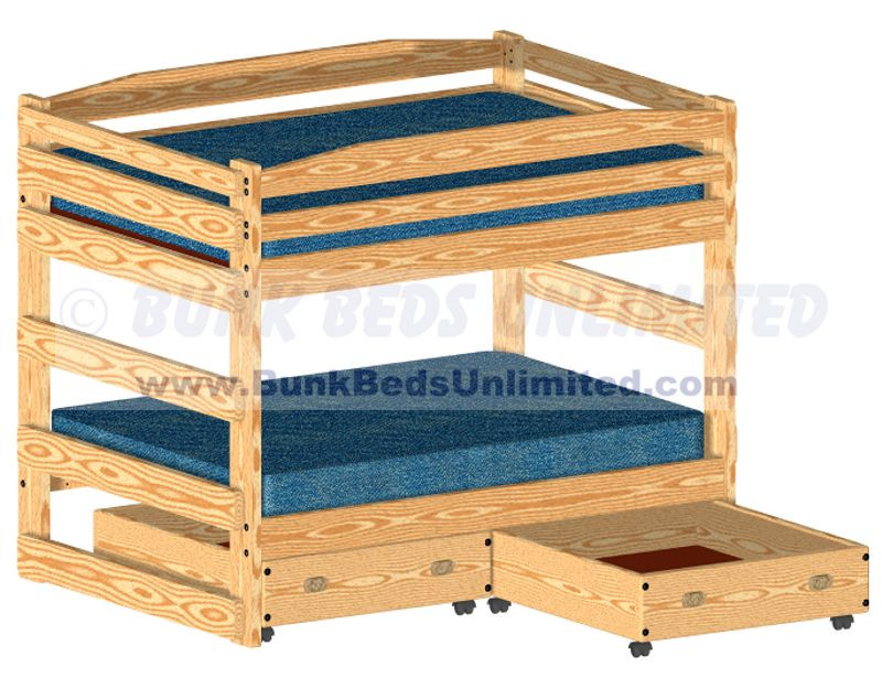 Bunk Bed Plan Full over Full with Large Storage Drawers or Trundle Bed