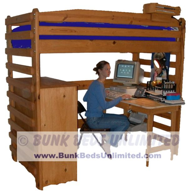 Tall Loft Bed Plans Room for an Adult to Sit at Desk (bed is modified ...
