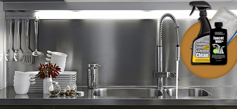 clean polish stainless steel kitchen appliances