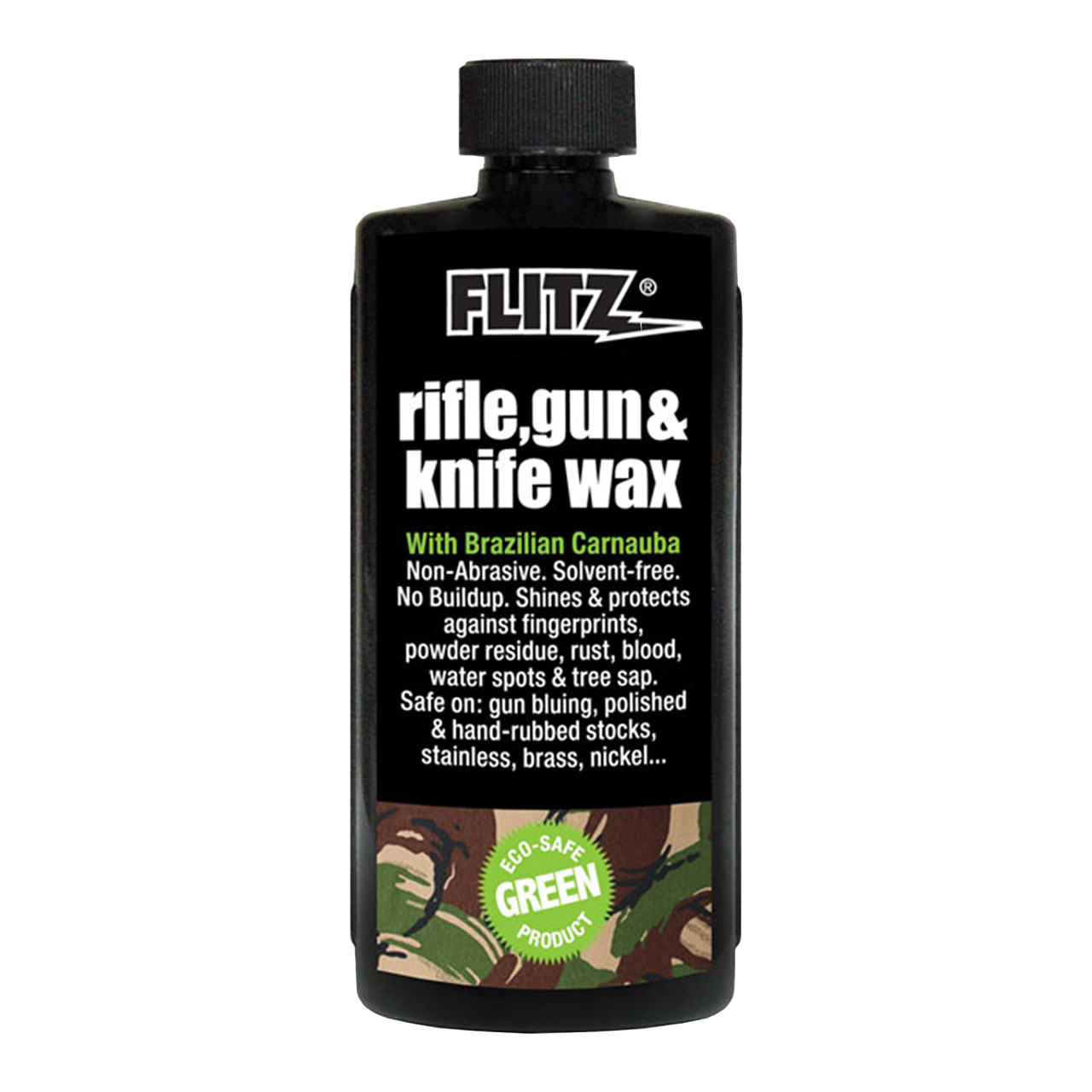 White carnauba and beeswax formula for gun bluing, polished or hand-rubbed stocks, stainless and nickel firearms.