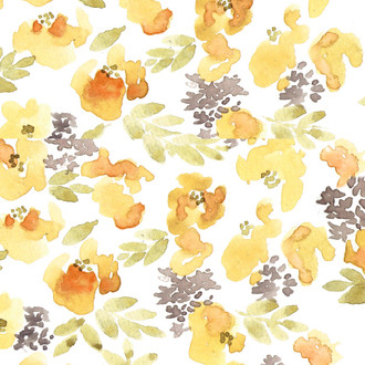 """Chloe"" Yellow Floral Patterned Paper, 10 pack"