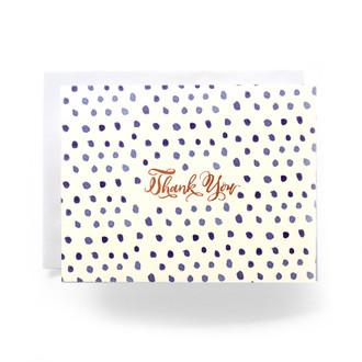 Blue Polka Dot Thanks Greeting Card