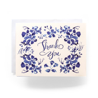Blue Wildflower Thank You Greeting Card