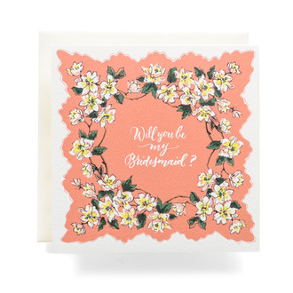 "Handkerchief ""Will you be my Bridesmaid"" Greeting Card, Coral"