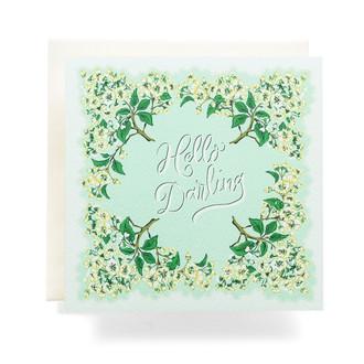 Handkerchief Hello Darling Greeting Card, Sea Foam