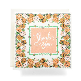 Handkerchief Thank You Greeting Card, Peach